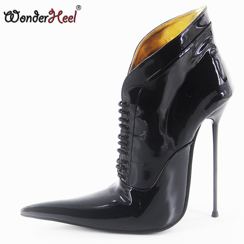 Wonderheel New 16cm stiletto heel super high heels extremely pointed toe patent leather ultra thin metal