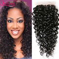 7A Brazilian Virgin Hair Water Wave Closure Lace Closure 4x4 Top Lace Closure With Baby Hair Human Hair Extensions Free Shipping