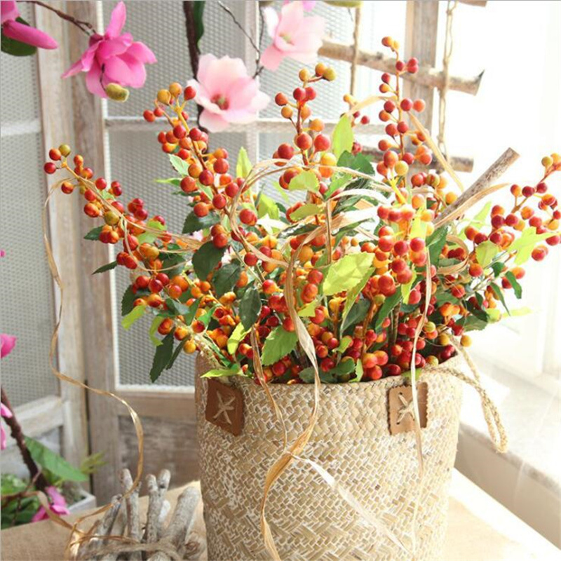 Artificielle baie branche allusion fruit faux mousse fleurs baies plante pour automne automne maison jardin décoration fleur artificielle