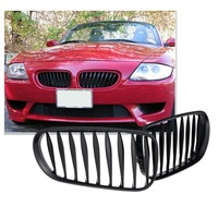 1 Pair Of Matt Black Car Front Bumper Center Grille Sporty Style Grill For BMW Z4
