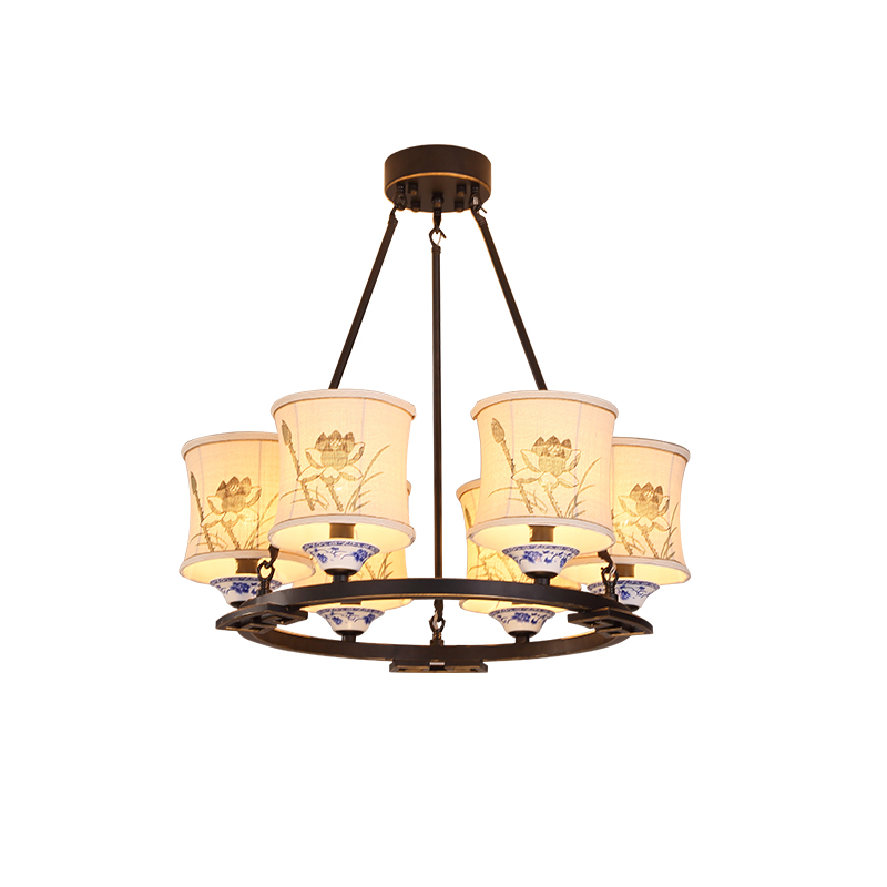 Chinese 4/8/6 heads Ceiling Light living room classical blue and white dishes bedroom modern fabric restaurant lamps ZA92351
