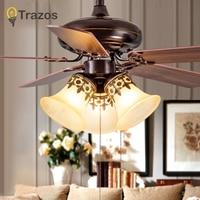 TRAZOS Modern 42 Inch Iron Blade black Ceiling Fans With Lights Remote Control Ceiling Light Fan Lamp Ventilador De Teto