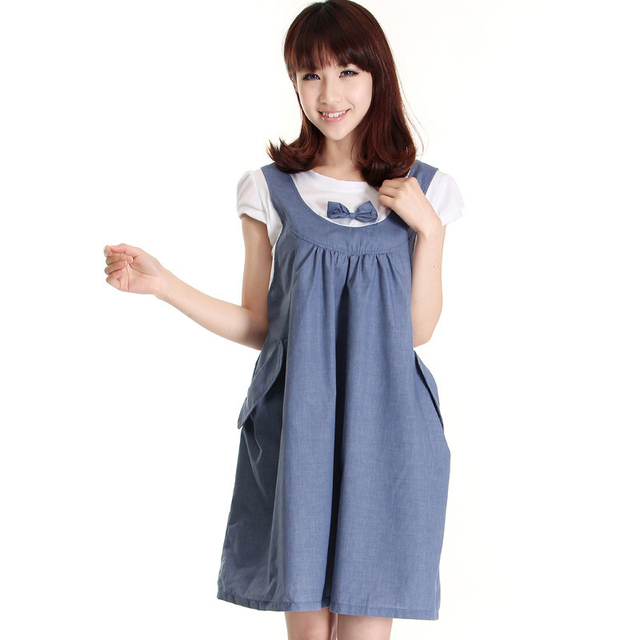 888bc951448 Cozy soft Summer Maternity Dress Bow Clothes For Pregnant Women False two Maternity  One-Piece