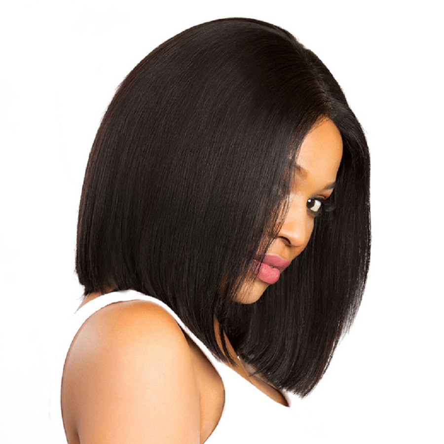 Straight Lace Front Human Hair Bob Wigs For Women Brazilian Remy Hair Short Bob Cut Wigs Pre Plucked Natural Hairline 8-14