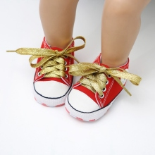 Spring Canvas Boys Girls Shoes Newborn Baby Shoes Gold Lace