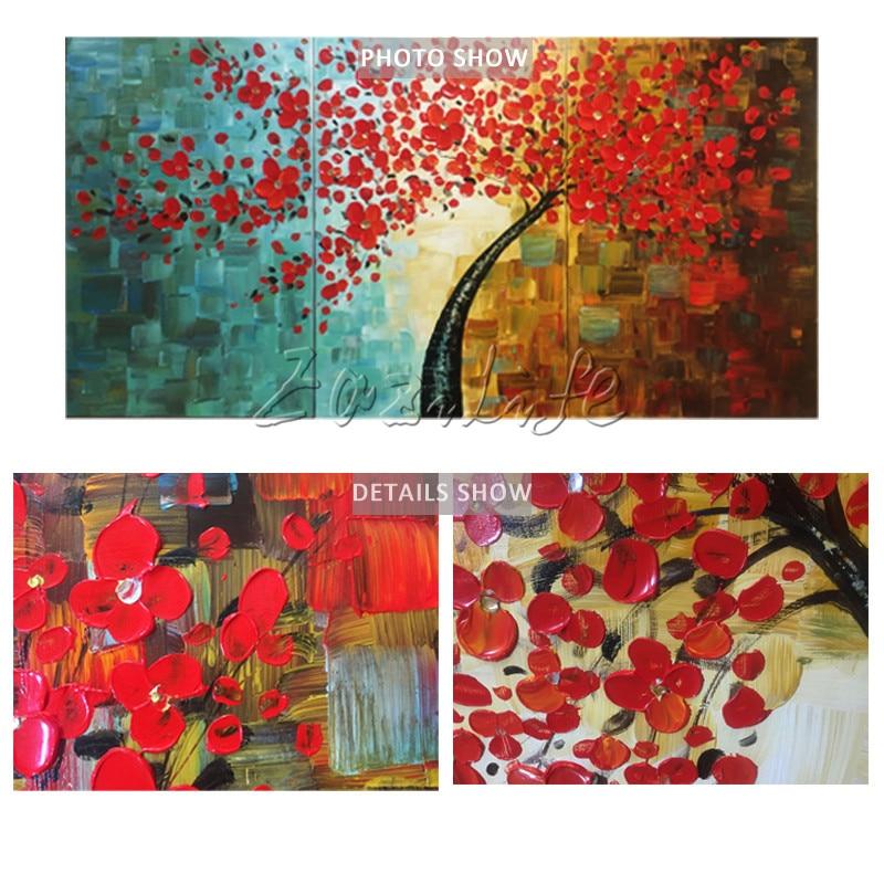 Canvas tree oljemålning 3 delar palettkniv 3D-textur röda blommor - Heminredning - Foto 6