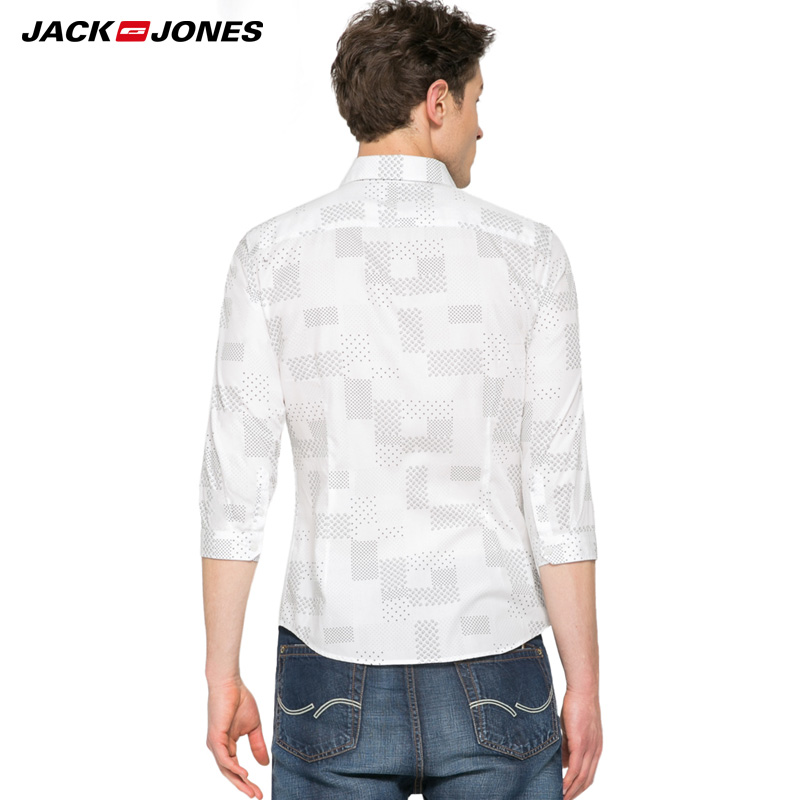 Jack amp Jones Brand 2019 NEW COTTON punk style plaid male slim sailor collar three quarter sleeves casual shirts 216231509 in Casual Shirts from Men 39 s Clothing