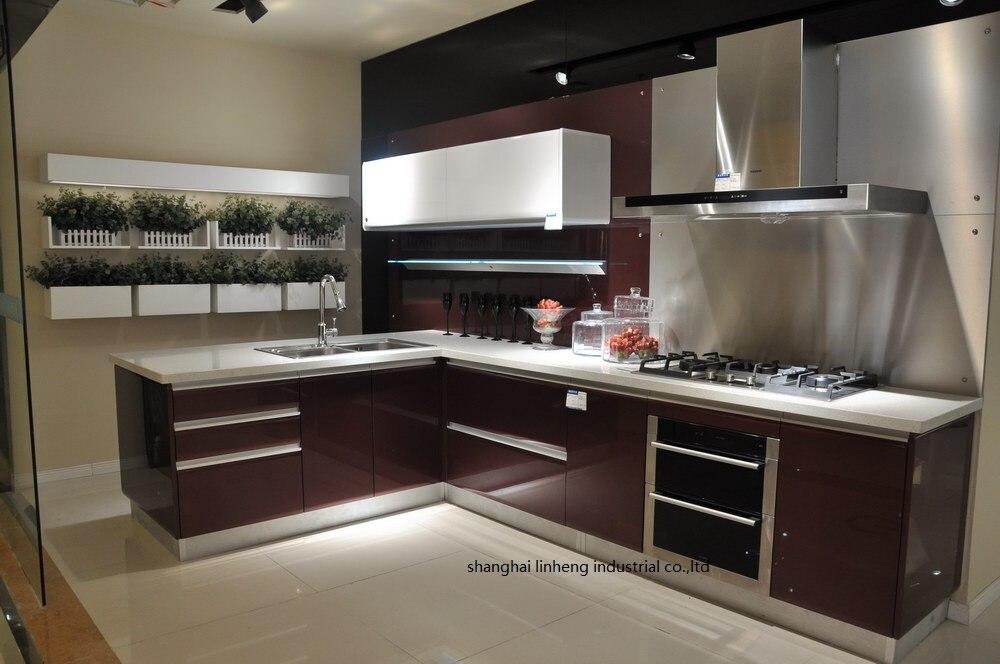 Haute brillant/laque armoires de cuisine mordern (LH-LA067)