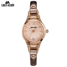 Liber Aedon Gold Fashion Lady Women Watch Leather Band Dress Quartz Brand Women Wrist Watches Classical Girl's Bracelet Watches