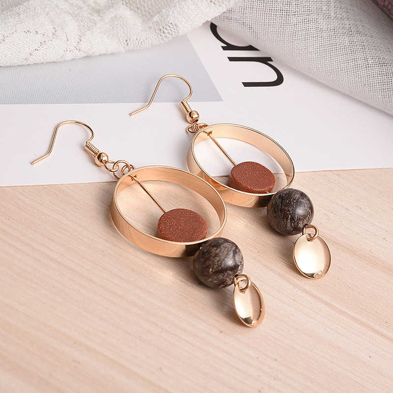 2018 Women's Earrings Personality Natural Stone Beads Dangle Earrings Geometric Earrings For Fashion Jewelry Women Accessories
