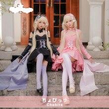 Anime Chobits Chi Freya Cosplay Costume LOLITA Pink White Sister Evening  Dress 2f59ad884c92