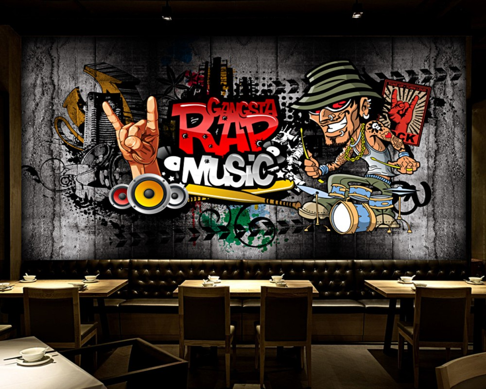 Free Shipping 3D Custom Photo Wallpaper Retro Hip Hop Rock Music Bar Mural Wallpaper KTV Background Wallpaper Fashion Mural custom mural 3d korean cuisine wallpaper leisure bar restaurant theme hotel snack shop background beverage food wallpaper mural