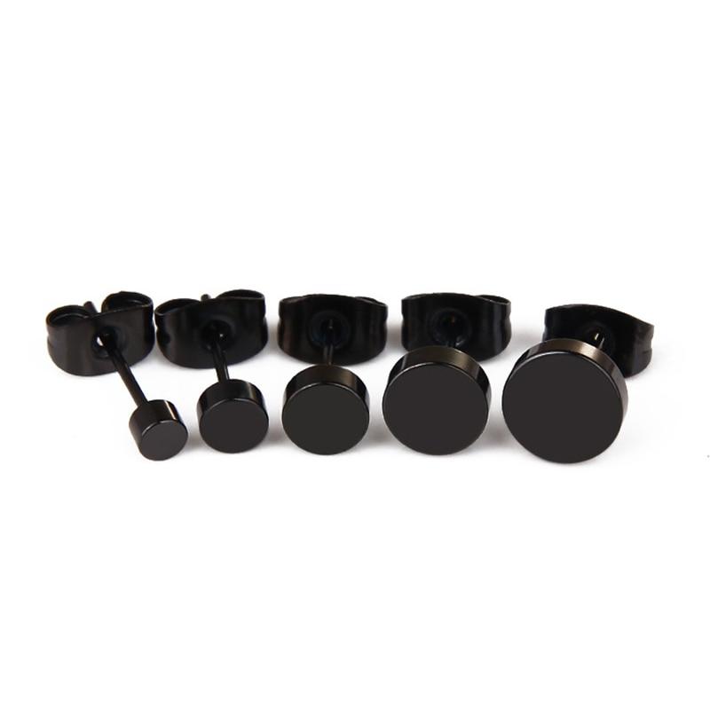Men Punk Barbell Gothic Stainless Steel Stud Earrings Women Round Bolt Earrings Faux Fake Ear Plugs Stretcher Cheater Earring