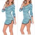 Sexy Women Casual Striped shirt Long Tops  Beach Shirt Mini Dress home wear clothes