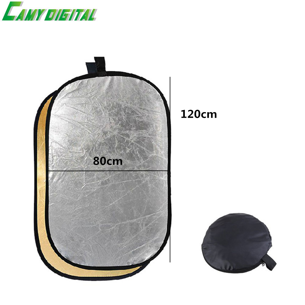 80*120CM/31x47 Studio Flash Accessories 2in1 Gold & Silver Reflector Dish Board Plate Oval For photography