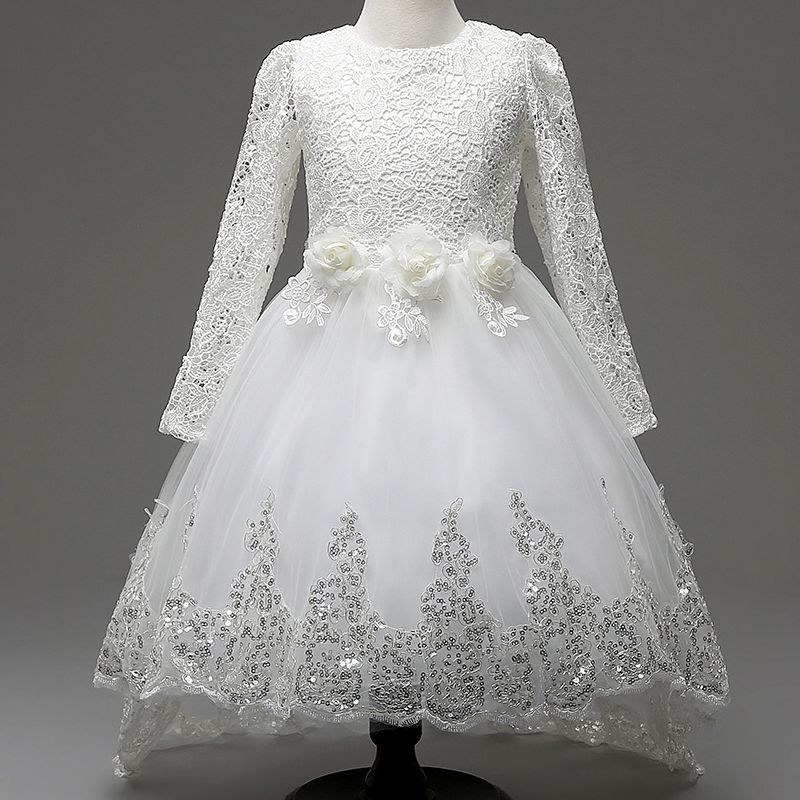 Girls Princess Flower Dresses for Wedding Party Bridesmaid Kids Bow Long Sleeve Girl Evening White Dress Fashion Lace Tutu Dress