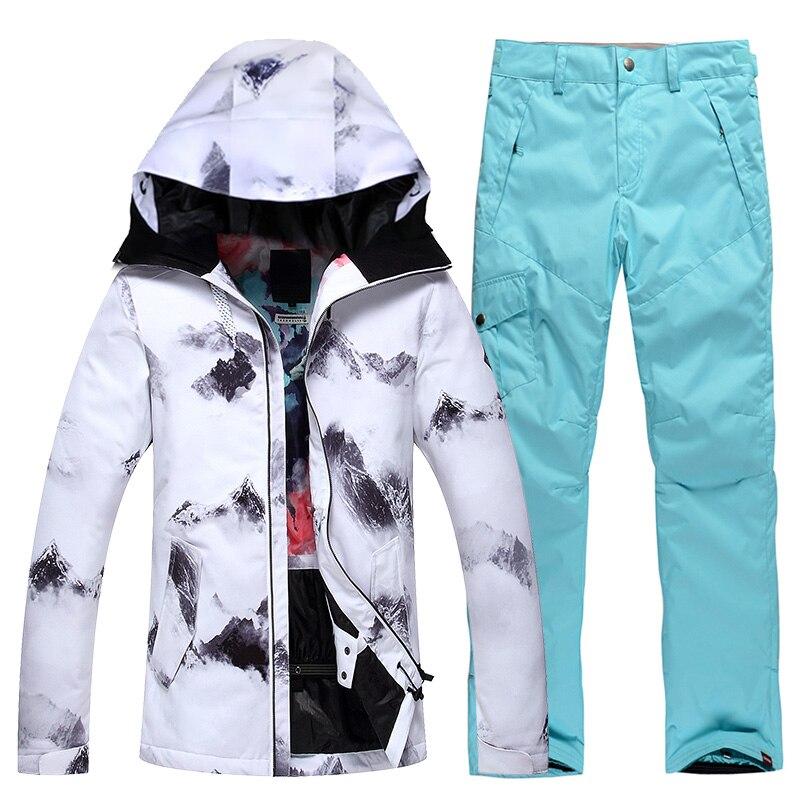 Women Ski Suits Jackets+Pants Warm Winter Waterproof Skiing Snowboarding Clothing Set ski jacket and pant Free Shipping Snowboarding Sets    - title=