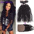 Malaysian Deep Wave With Closure 3 Pcs Malaysian Curly Hair Silk Base Closure With Bundles Curly Weave Human Hair With Closure