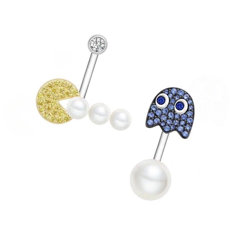 ZOZIRI zircon aventure goujons boucles d'oreilles pour femme en argent sterling bleu or cz perle pacman boucles d'oreilles pac-man HF conception de bijoux