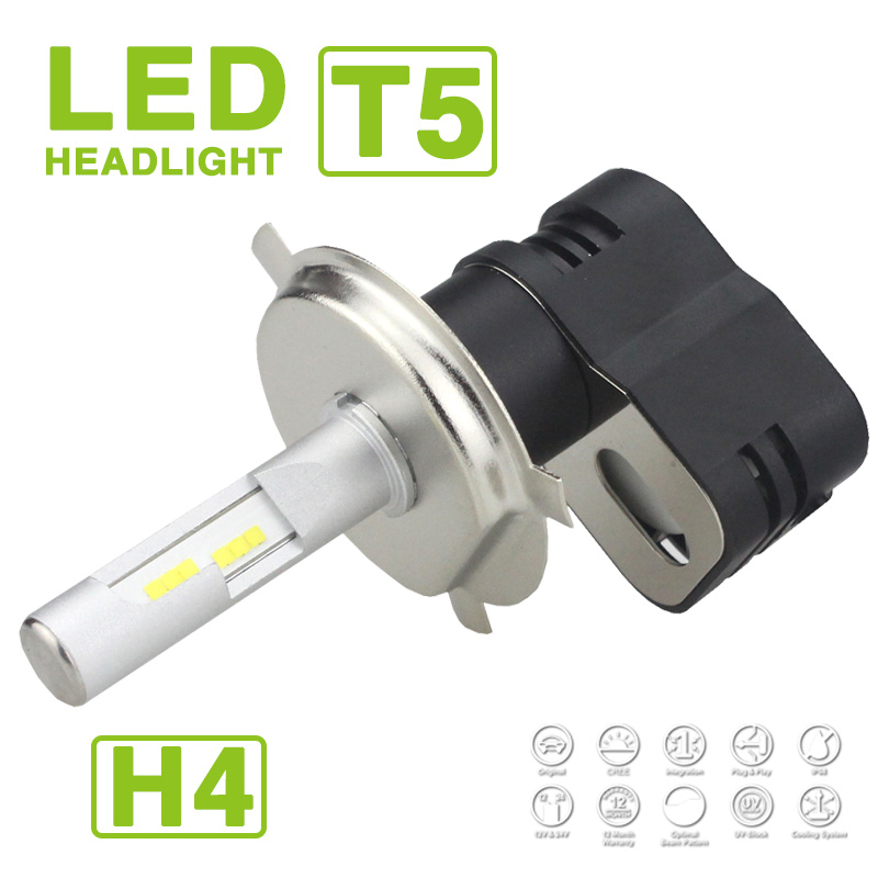 1 Set H4 HB2 9003 Turbine T5 LED Headlight Headlamps 60W 9600LM CSP Chips All-in-one Super White 6000K Driving Hi/Low Beam Bulbs