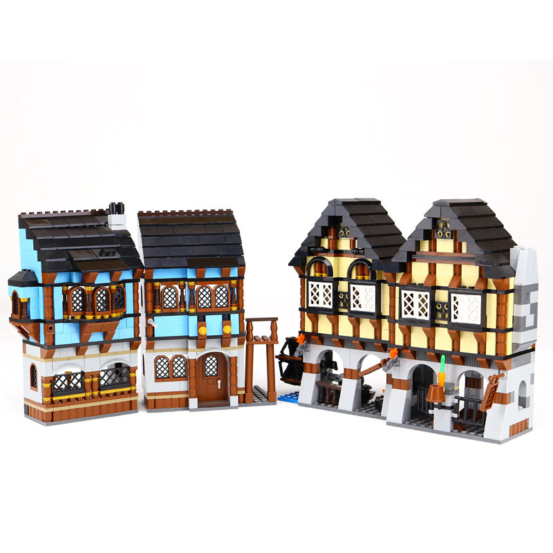 New 16011 castle Series the Medieval Market Village Model Building Brick Compatible 10193 classic Architecture Toys for children keys to the castle