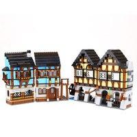New 16011 Castle Series The Medieval Market Village Model Building Brick Compatible 10193 Classic Architecture Toys