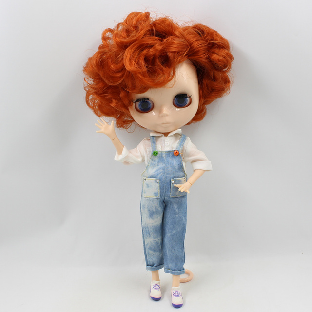 Blyth Nude Doll MALE BOY JOINT body short curly brown Hair side parting no makeup white skin Suitable For DIY No.90BL1207