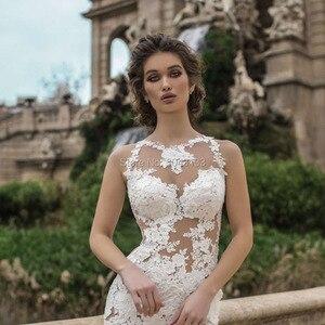 Image 3 - Unico Della Sirena Abiti Da Sposa 2021 Bianco Appliques Champagne Tulle Abiti Da Sposa O Collo Vedere Attraverso Abiti Da Sposa vestido de noiva