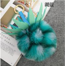 fruit Pineapple Keychain fake Rabbit FOX Fur Pompoms Key Chain Woman Gift Jewelry Fur Pom Pom Bag Charm Car Pendant Key Ring