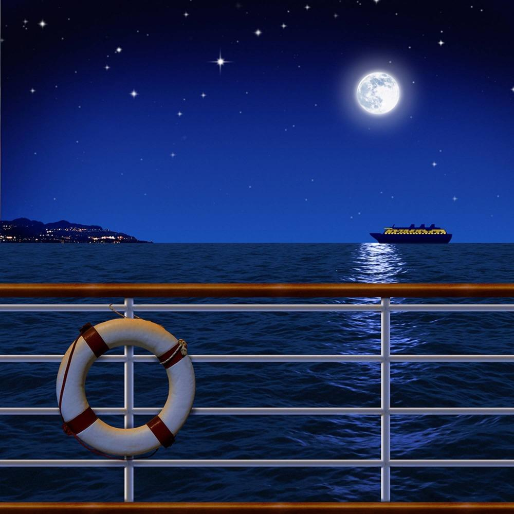 party background High quality Computer print Dark Blue Night Starry Sky Full Moon Nautical Cruise Ship Deck Sea backdrops