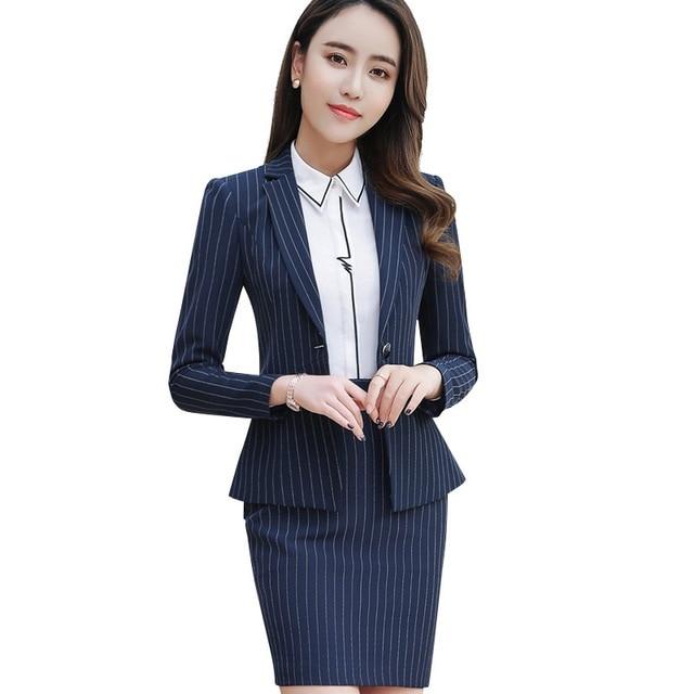 2018 Frühjahr Business Mode Streifen Rock Anzug Formale Lange Hülse Dünne Blazer Und Rock Büro Damen Plus Größe Der Arbeit Tragen Blut NäHren Und Geist Einstellen