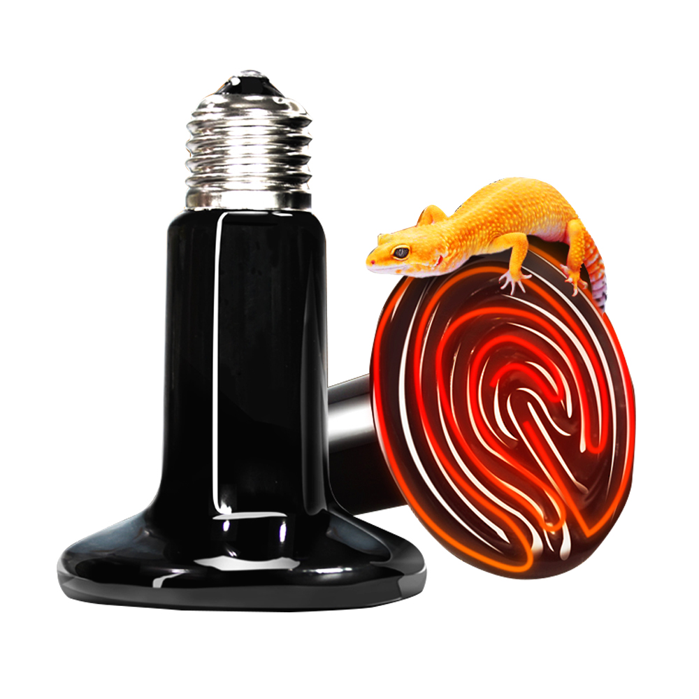 Mascotas reptil calefacción lámpara 25/50/75/100/150/200 W tortuga de cerámica lámpara de infrarrojos bombilla Reptile equipos de Control de temperatura 220 V-240 V