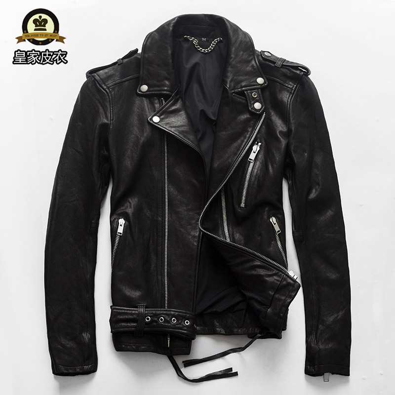 GUYEZAIXIU 2018 New Men Black Genuine Vegetable tannin Sheepskin Motorcycle Leather Jacket 100% Real Biker Jackets