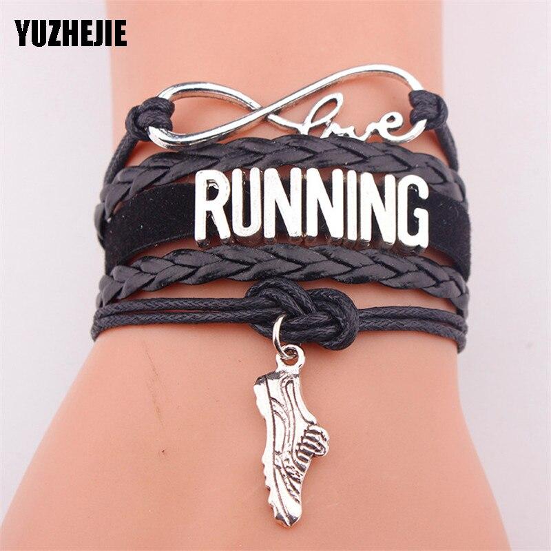 YUZHEJIE Infinity Love RUNNING bracelet heart charm leather rope warp men bracelets & bangles for women jewelry