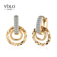 Round Champagne Gold Color Hoop Earrings for Women with AAA Cubic Zirconia Earring Romantic Earring Suitable for Parties