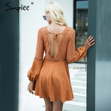 Simplee Sexy lace up v neck suede lace dress women Hollow out flare sleeve winter dress party 2017 Autumn backless robe femme