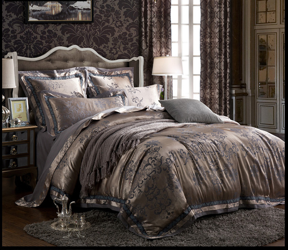 Luxury Satin Jacquard bedding sets Embroidery bed set double queen king duvet cover bed sheet set pillowcase 4/6pc coffee silverLuxury Satin Jacquard bedding sets Embroidery bed set double queen king duvet cover bed sheet set pillowcase 4/6pc coffee silver