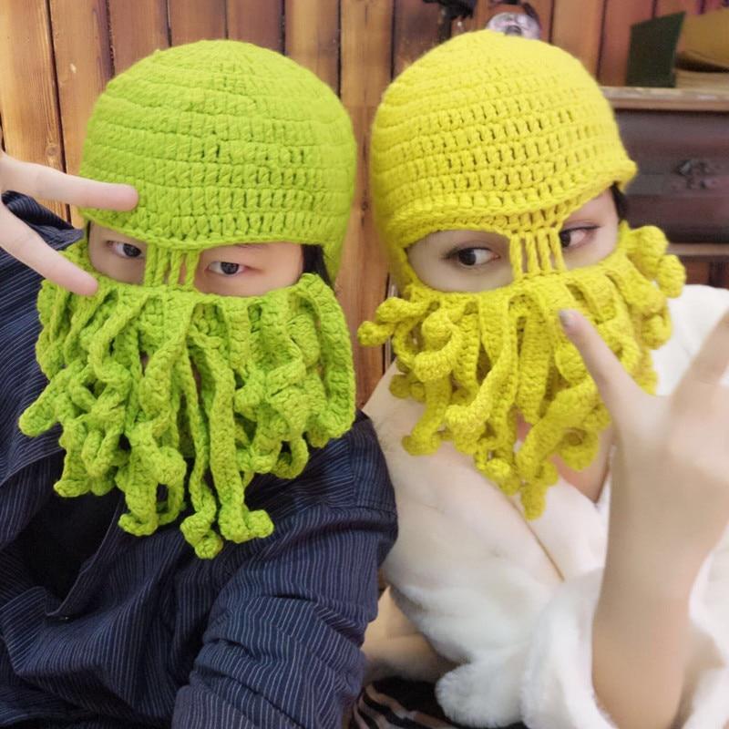 New Handmade Funny Tentacle Octopus Hat Crochet Cthulhu Beard Beanie