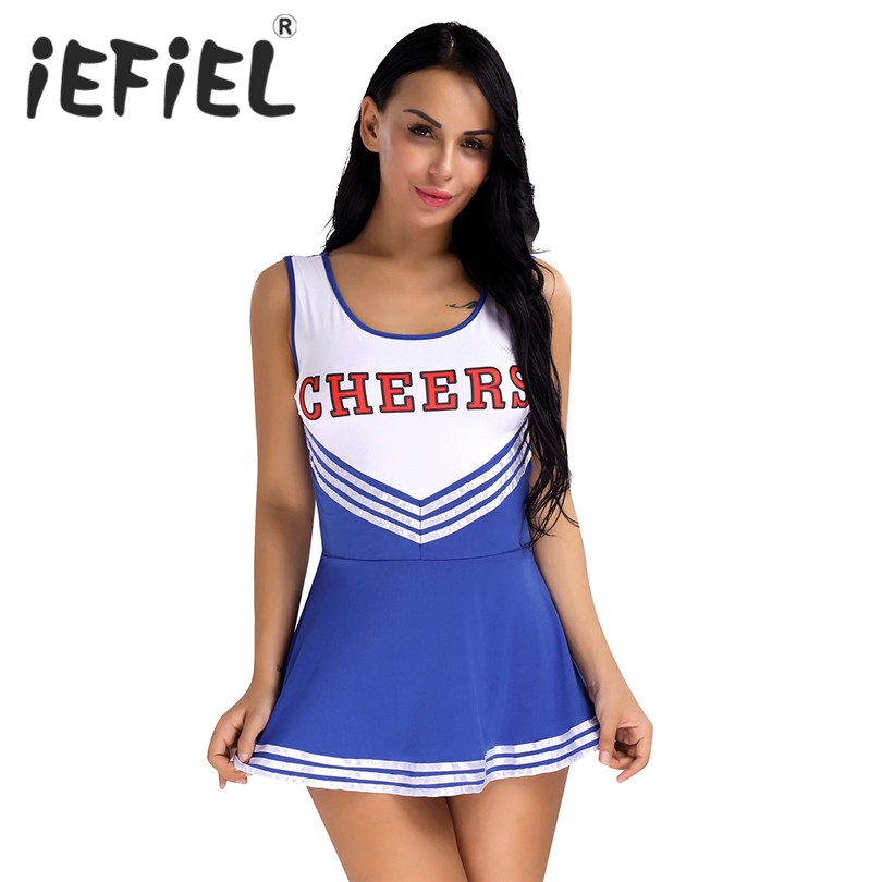 IEFiEL 女性女性女子校生ミュージカルチアリーダー衣装制服ファンシーミニドレス A ライン女性のドレスダンサーのためのパフォーマンス