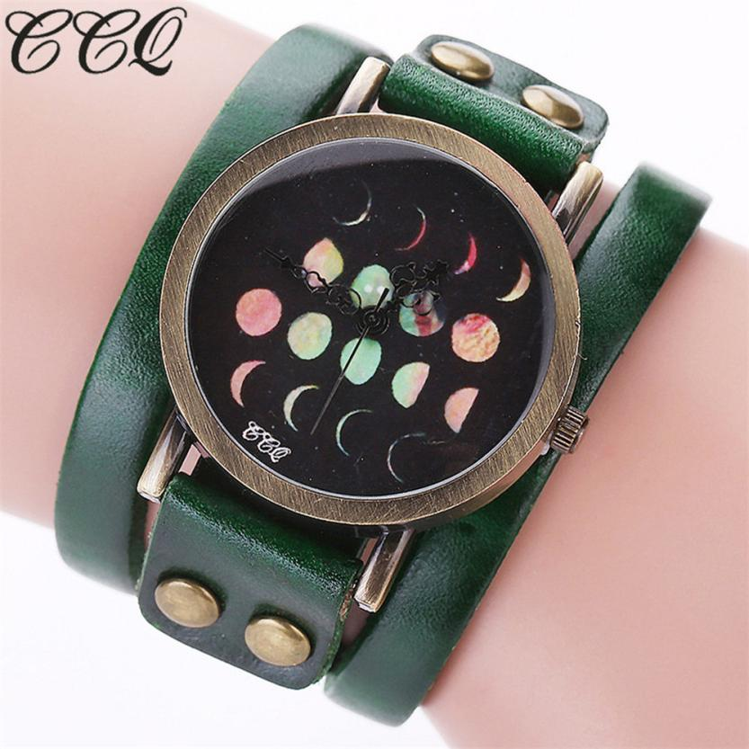 CCQ Brand Fashion Woman Watches Moon Eclipse Pattern Quartz Leather Bracelet Clock Watches 2018 Dropshipping Fre08
