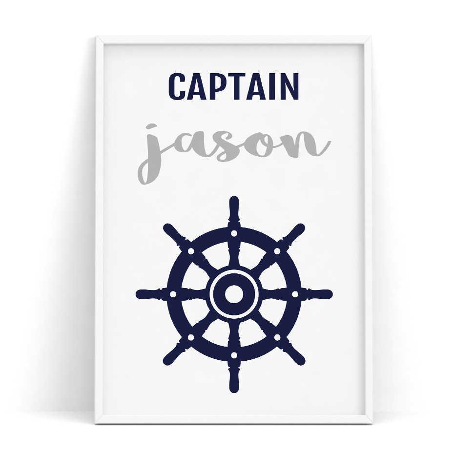 Jangkar Paus Dinding Seni Nautical Dekorasi Kamar Kanvas Seni Angkatan Laut Biru Abu-abu Nama Anak Laki-laki Pribadi Anak-anak Kamar Bayi poster