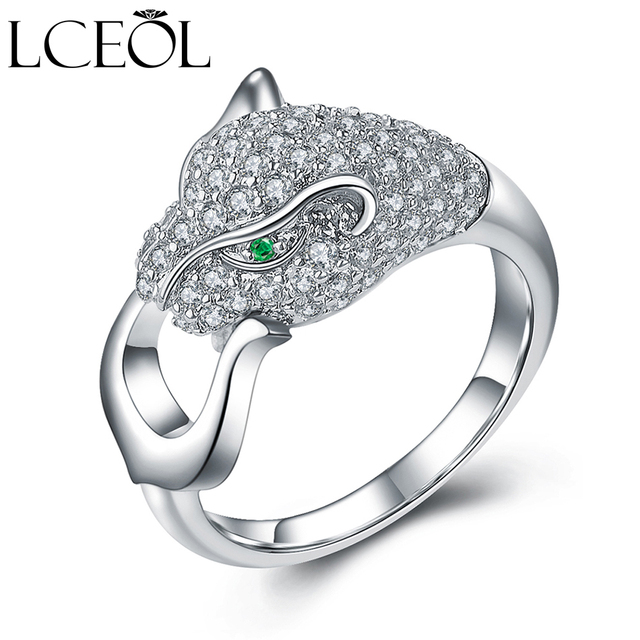 LCEOL Fashion Classic Hot Sale Ring White Gold Color Rhinestones