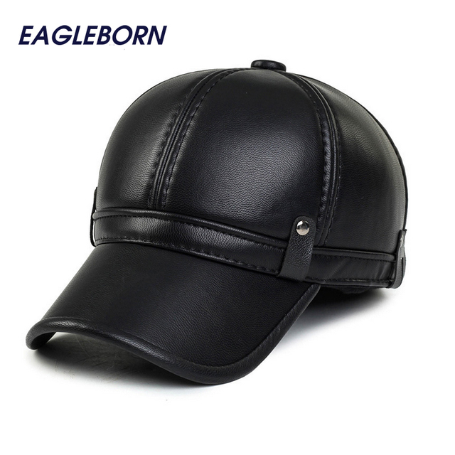 Simple fashion mens winter cap 2016 warm fleece lining keep warm earflap leather hats for women men faux leather baseball cap