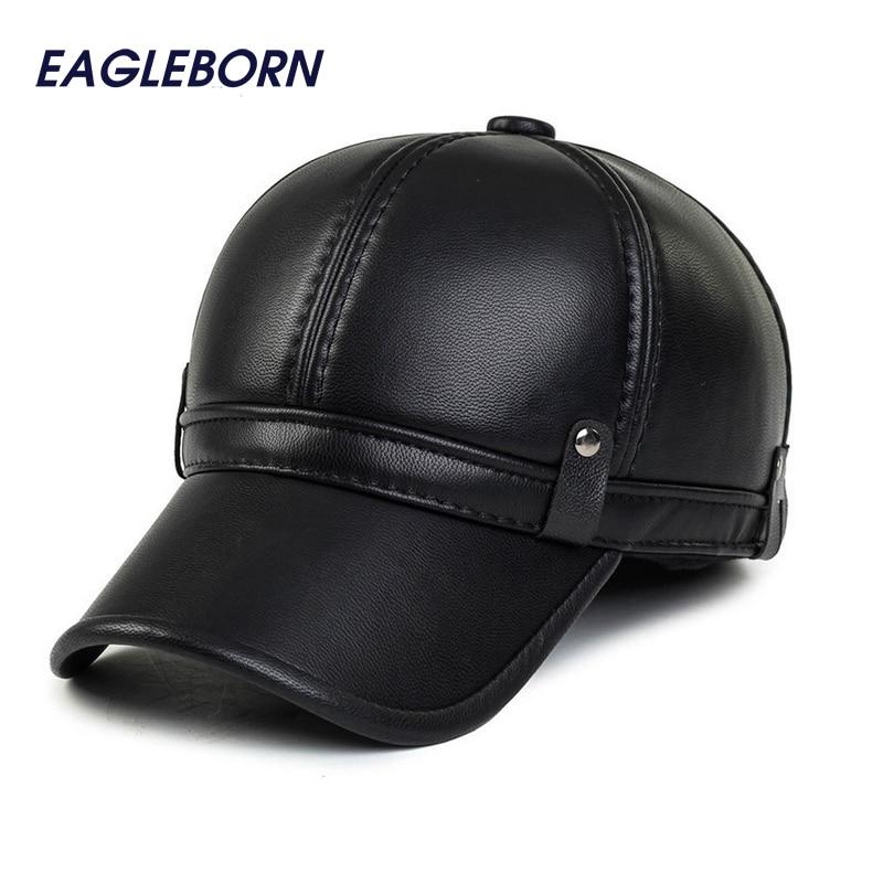 Simple fashion mens winter   cap   2019 warm fleece lining keep warm earflap leather hats for women men faux leather   baseball     cap