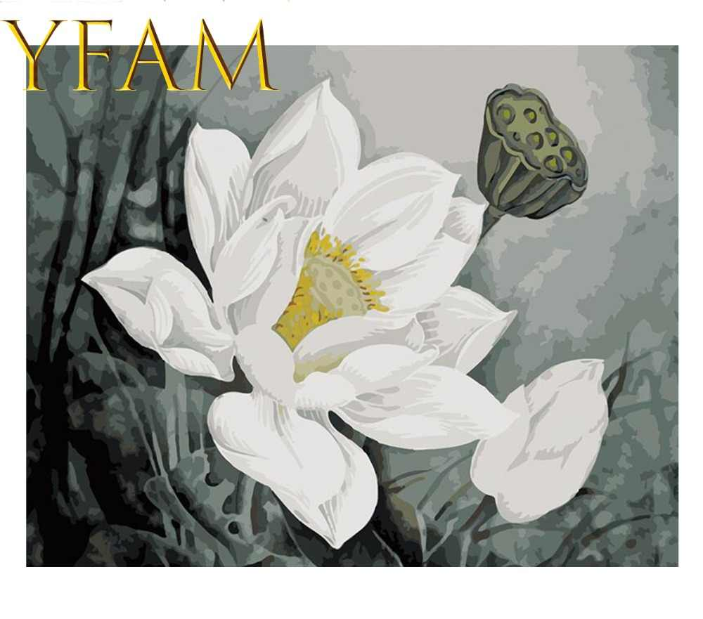 Lotus White Flower Painting By Numbers DIY Hand Paint Acrylic Drawing On Linen Canvas Modern Home Decorative Wall Picture