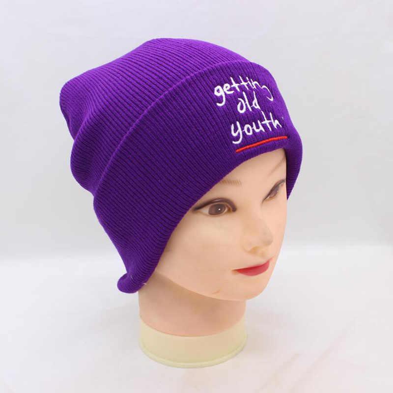 9d1323cc754 ... BING YUAN HAO XUAN Winter Warm Beanie Women New Purple Embroidery  Turban Knitted Hats Ski Hat ...