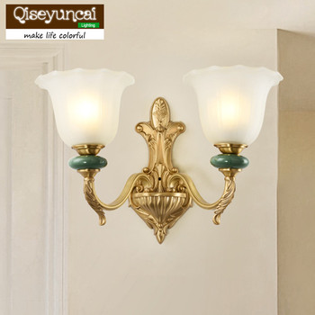 Qiseyuncai 2018 new American copper living room wall lamp French restaurant bedroom study copper ceramic wall lamp