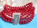 Maravillosa natural 5 filas cuentas de coral rojo pulsera