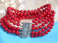 wonderful natural 5rows round red coral beads bracelet