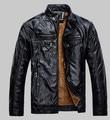 2016 New arrive mens jacket coat BRAND leather jacket men thick velvet PU jaqueta couro winter coat jakets M-3XL large size